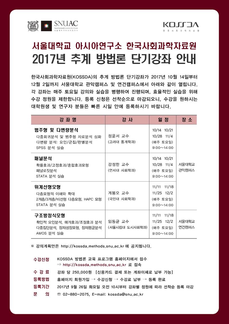 [공지] 한국사회과학자료원 2017 추계 방법론 단기강좌 안내
