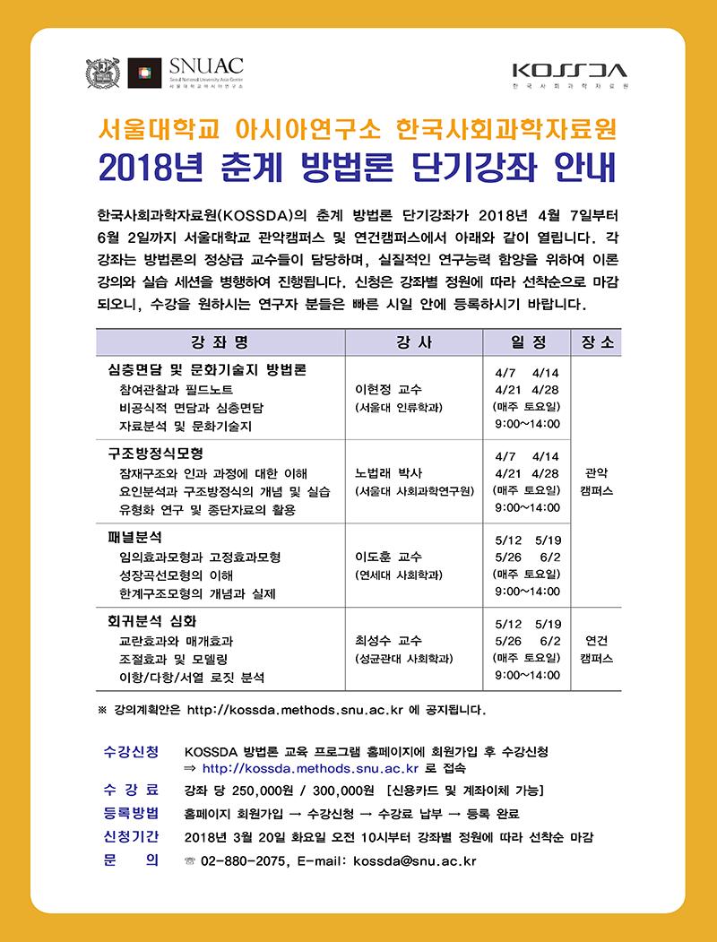 [공지] 2018 KOSSDA 춘계 방법론 단기강좌