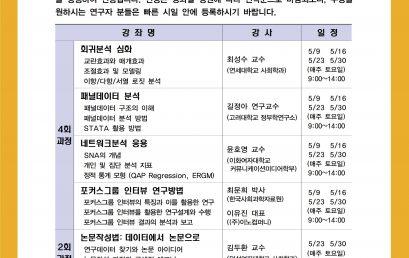 [공지] KOSSDA 2020년 춘계 방법론 단기강좌