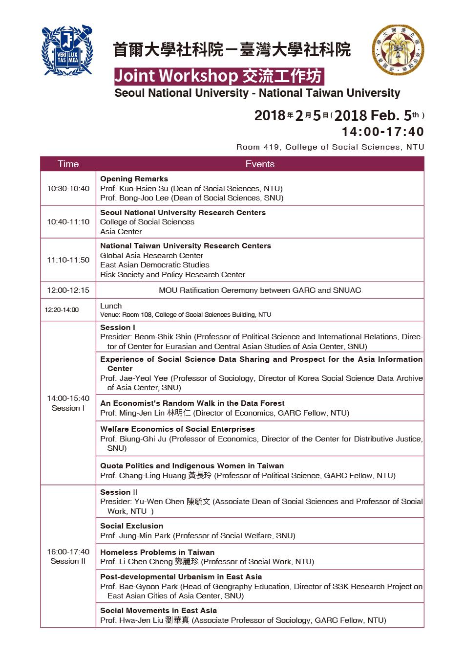 SNU-NTU Joint Workshop