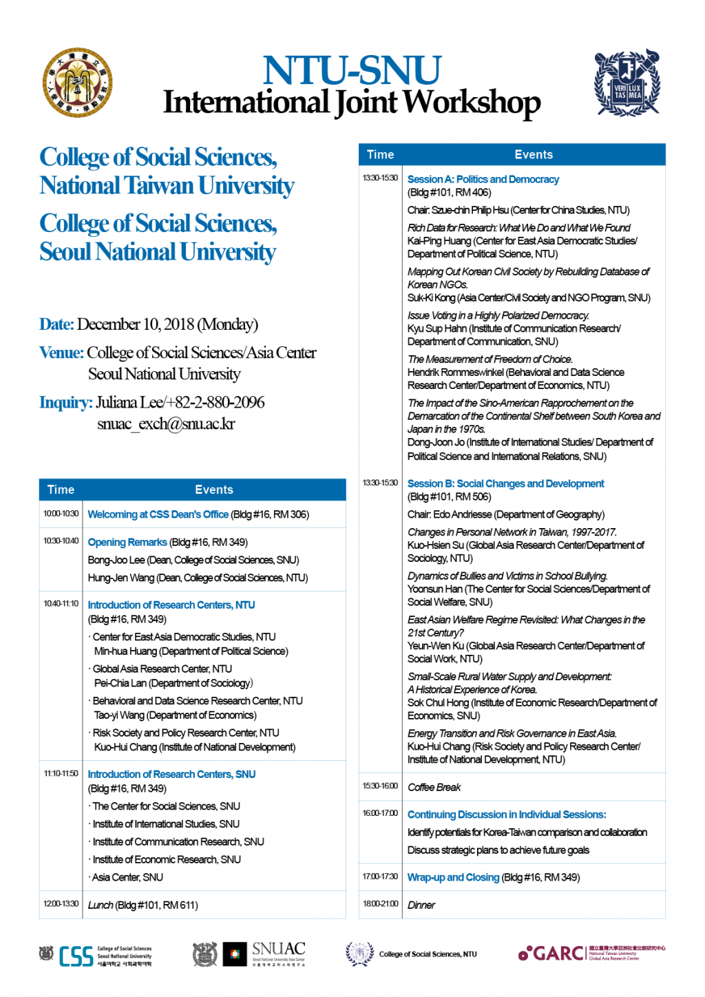 International Joint Workshop (National Taiwan University-Seoul National University)