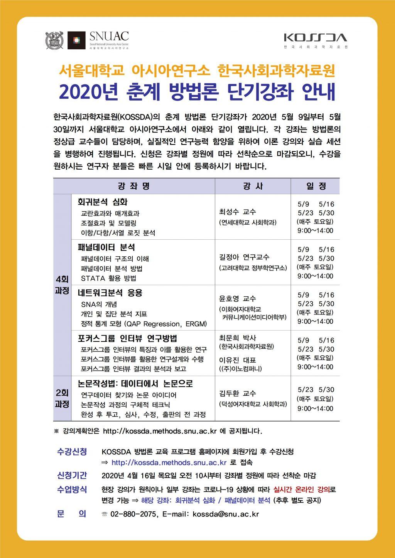 Spring 2020 KOSSDA Methodology Short Course